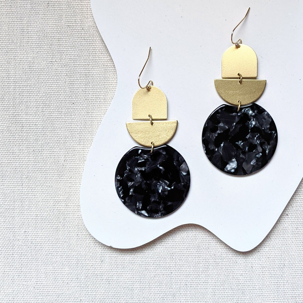 Rendezvous brass + acrylic earrings