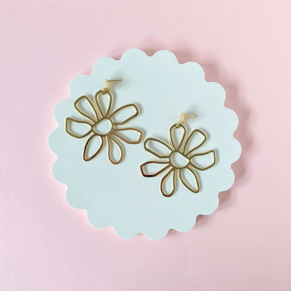 Flower Doodle Earrings / Gold