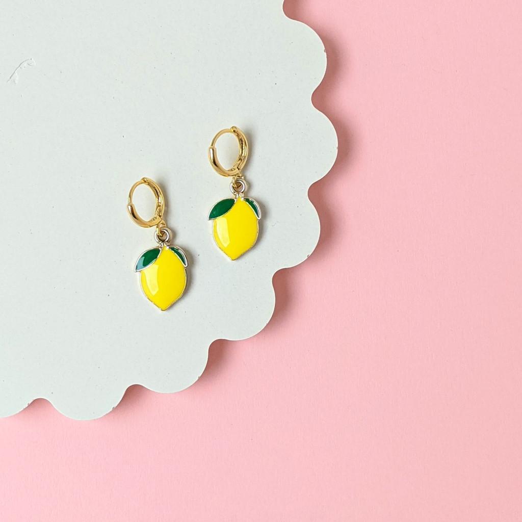 Lemon huggie hoops