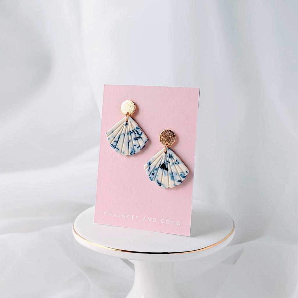 Mixed acrylic seashell earrings - blue + white