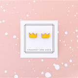 Wood Crown Earrings