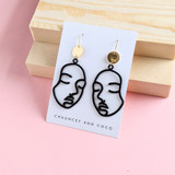 Face  Line Drop Earrings / Black