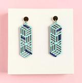 Geometric stack wood earrings