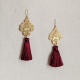 Baroque Tassel Earrings / Deep Red