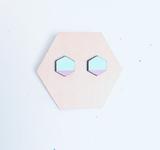 Wood Hexagon Mini Studs / Mint + Lavender