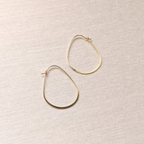 Elliptical Thin Hoops - Gold Plated