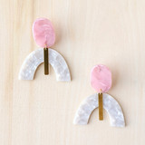 Tame the Tempest Acrylic Arch Earrings - Pink + White