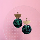 Forest under the Moon - Brass + Acrylic Earrings