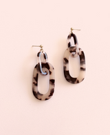 Link Up Acrylic Drop Earrings- Coffee Tortoise