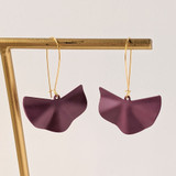Wavy Fan Drop Earrings - Deep Purple