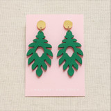 The Athena Wood Earrings - Green