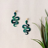 Garden of Eden Acrylic Snake Earrings / Green