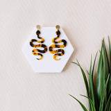 Garden of Eden Acrylic Snake Earrings / Tortoise