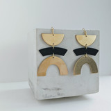 Balancing Act geometric brass earrings