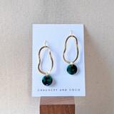 Wavelength organic shape drop earrings /  Green