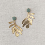 Organic Shape Textured Leaf Earrings / green