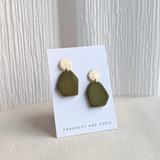 Fraction geometric earrings - green
