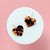Acrylic Heart Hoop Earrings / Tortoise