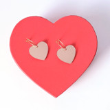 Mirror Heart Hoops / Light Pink