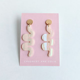 Wiggle Room squiggle earrings / White