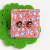Frida wood stud earrings