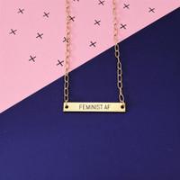 Feminist AF Engraved Necklace
