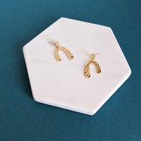 Hammered Gold Mini Arch Earrings