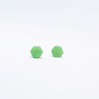 Clay Hexagon Studs / Jade Green