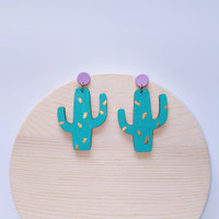 Cactus Party Wood Earrings