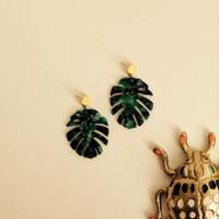 Monstera Acrylic Earrings / Green + Gold