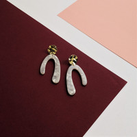 Tension Earrings / Hammered Gold + White