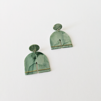 Into The Garden Clay Earrings - Marbled Green
