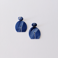 The Clio Clay Statement Earrings - Blue