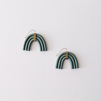 The Maia Clay Arch Earrings - Sage Green