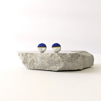 The Helen Circular Clay Stud Earrings - Ultramarine Blue + Classic Marble