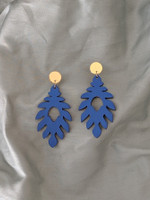 The Athena Wood Earrings - Blue