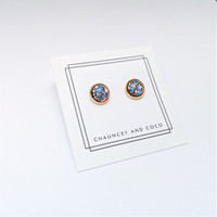 Resin Dome Stud Earrings - Glitter Party