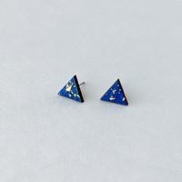 Triangle Wood Stud Earrings- Blue + Gold Flake