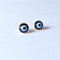 Evil Eye Blue Stud Earrings