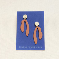 Abstract Cut Out Drop Earrings- Tan
