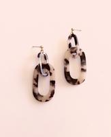Link Up Acrylic Drop Earrings- Coffee Tortoise