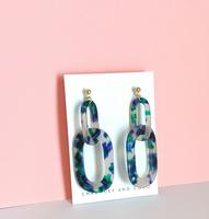 Link Up Acrylic Drop Earrings - Blue + Green