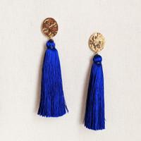 Corfu Tassel Earrings / Blue