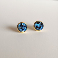 Holographic Circle Studs / Blue