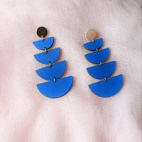 Oceans Apart Tiered Wood Earrings / Blue