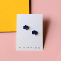 Hexagon Wood Studs / Blue + Pink