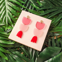 Flora Drop Earrings / Pink + Red