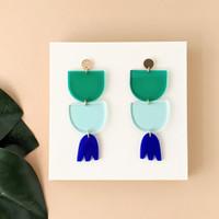 Flora Drop Earrings / Blue + Green