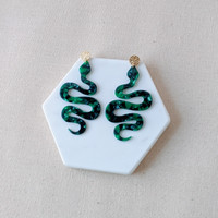 Garden of Eden Acrylic Snake Earrings / Green