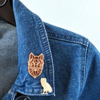 Geometric Wolf Wood Pin